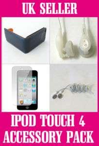 iPod Touch 4 Black Leather Case & Earphones Bundle