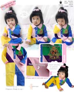 Made in Korea Collar Patch Blocks Baby Boy Girl Infant Clothing / OA