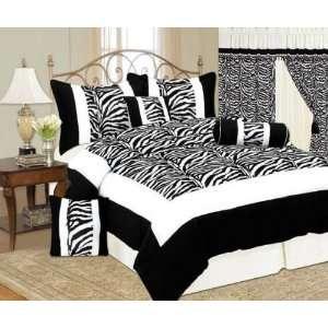 Queen Size 7 Piece Black / White Zebra Print Micro Suede Comforter