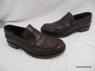 Prada Brown Leather Wood Sole Penny Loafers 7.5