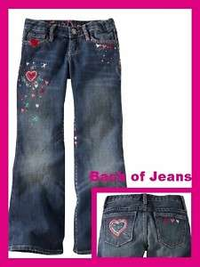 NEW GAP GIRL Embroidered HEART STITCH BOOT CUT JEANS 10