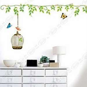 Wall Decor Removable Decal Sticker   Flying Butterflies with Birdcage