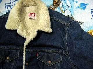 vtg Levis SHERPA LINED 80s BLUE DENIM Jacket L 42R 42 reg usa trucker