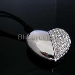 Swarovski Crystal Heart Necklace USB 2.0 Flash Memory Pen Drive Stick