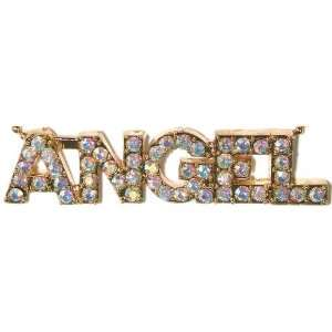 1/2 Hi Angel Necklace In Aurora Borealis with Gold