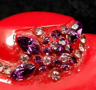 Vintage Red Brimmed Ladies Hat Rhinestone Pin Brooch