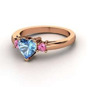 Spark My Heart Ring, Heart Blue Topaz 14K Rose Gold Ring