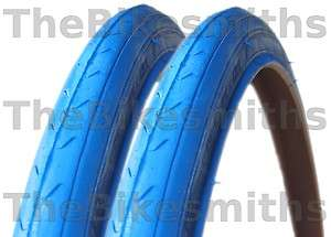 PAIR 700 x 23c ALL BLUE FIXED GEAR TRACK ROAD BIKE TIRES NEW 100psi