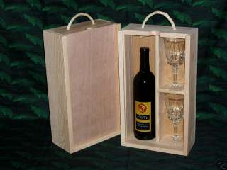 Double Wood Wine Box Gift Crate Wood Front Glasses Slot