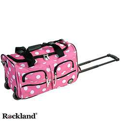 Rockland Pink Dot 22 inch Carry On Rolling Duffel Bag