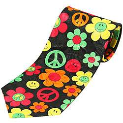 Mystic Clothing Satin 70s Peace and Love Necktie with Gift Box