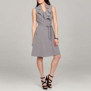 Sandra Darren Womens Charcoal Rufled Double breasted Dress