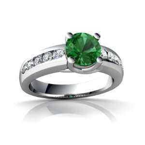 14K White Gold Round Created Emerald Ring Size 4 Jewelry