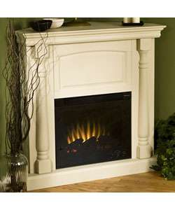 Oxford Antique White Electric Corner Fireplace