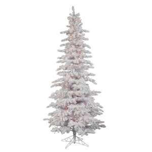 7.5 Flocked White Slim Christmas Tree w/ 1019T & Snow 400