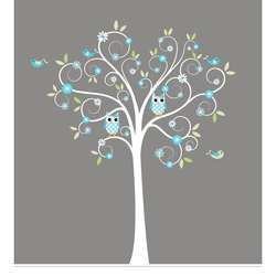 Nursery Wall Art Boys Curls Branch Tree Owls and Birds Decal Set