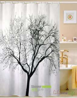 Big Tree Scene Bathroom Fabric Waterproof Shower Curtain Free 12 Hooks