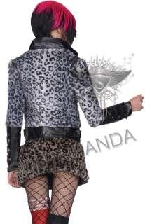 SC181 Black Punk Rock Leopard Skull Zip Jacket Coat Top