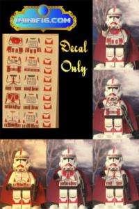 LEGO Custom Star Wars Red Clone Trooper stickers x 5