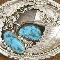 Southwestern Sterling Silver Turquoise Faux Bear Claw Belt Buckle