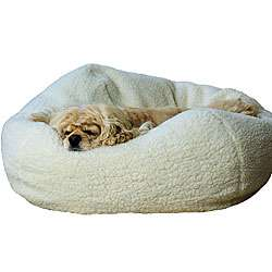 32 inch Sherpa Puff Ball Pet Bed