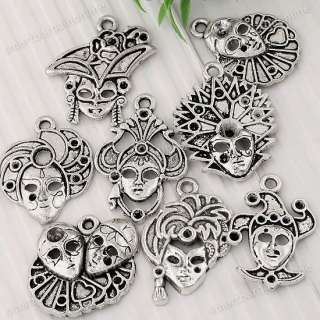 16pc Mixed Tibetan Silver Clown Mask Face Charm Pendant Finding Fit