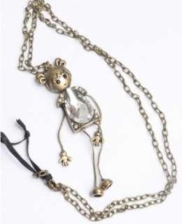Vintage bronze Cute rhinestone fashion Girl Long alloy Pendant Chain