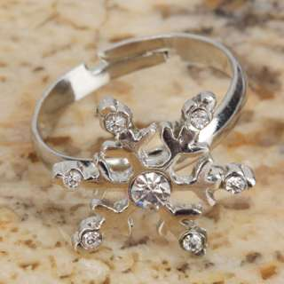 Shinning Snowflake shaped Style Adjustable rhinestone alloy Rings