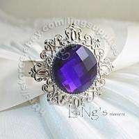 12 Amethyst Gem Napkin Ring Wedding Bridal Shower Favor