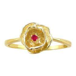 10k Gold July Birthstone Created Ruby Flower Ring
