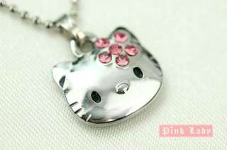 W30 Hello Kitty Pink Crystal Flower Bow Charm Necklace