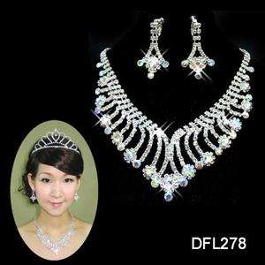 Wedding Bridal Colorful crystal necklace earring Sliver Jewelry set