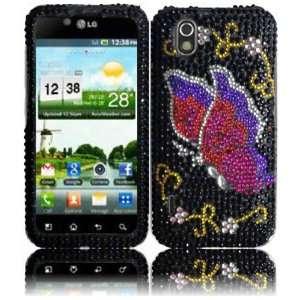 Pink Butterfly Full Diamond Bling Case Cover for LG