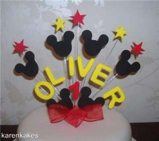 BIRTHDAY CAKE TOPPER MICKEY MOUSE RED / YELLOW