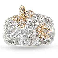 18k Two tone Gold 3/8ct TDW Diamond Butterfly Ring (G H, VS1 VS2