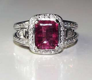 ESTATE PINK EMERALD CUT TOURMALINE DIAMOND WH GOLD RING