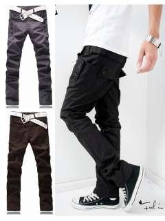 Mens Students Trendy Korean Slim Fit Pocket Design Casual Pants