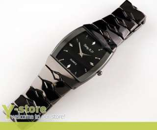 Men Square Face Black Stainless Steel Wrist Watch W252