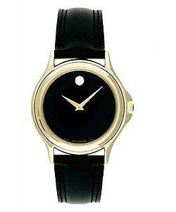 Movado Classic Mens Black Leather Strap Watch