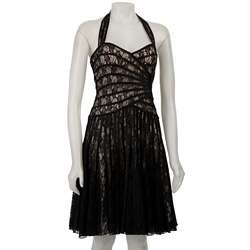 JS Collection Piped Lace Halter Dress