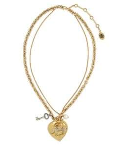 Juicy Couture HEART ROSE CHARM LAYERED NECKLACE NEW AUTHENTIC