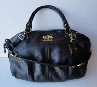 Coach 15955 Madison Sophia Black Brass Large Leather Satchel Handbag w