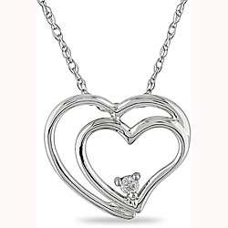Gold Diamond Double heart Pendant Necklace (I J, I2)