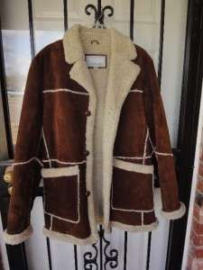 WILSONS Rust Suede Leather Ranch Western Sheerling Sheepskin Jacket