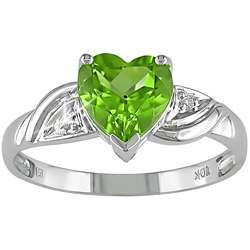 10k Gold Heart shaped Peridot and Diamond Ring
