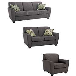 Mirage 3 piece Grey Fabric Sofa, Loveseat, and Chair Set