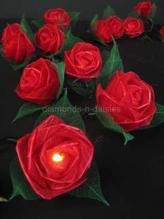 RED ROSE NATURAL FLOWER LED STRING FAIRY LIGHTS LANTERNS Valentines