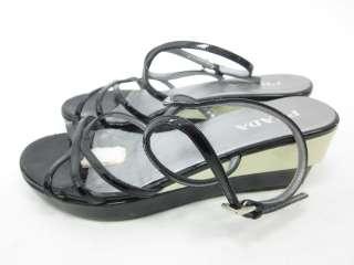 AUTH PRADA Black Patent Strappy Sandals Shoes Sz 35 5