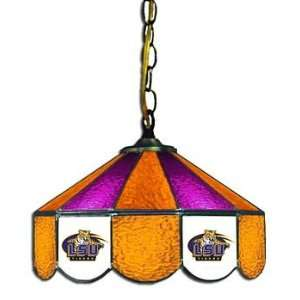 LSU 14 NCAA Stained Glass Swag Hanging Lamp