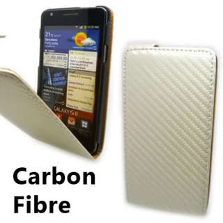 Slim White Carbon Fibre Flip Leather Case Cover for Samsung Galaxy S 2